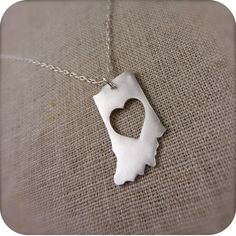 Indiana ♥ necklace i need one ! Indiana Love, Indiana Girl, Indiana State, Indiana University, Iu Hoosiers, State Necklace, Handmade Necklaces, Just In Case, My Heart