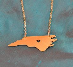 NEW--Petite GOLD-Filled North Carolina Necklace with Heart. $55.00, via Etsy.
