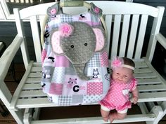 Girls Pink and Grey Car Seat Canopy With Peek-A--Boo Opening, Appliqued Elephant, Matching Headband For Your Baby!!! Doll Not Included by lindasnd on Etsy