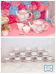 Tea Party....a little over the top, but some really cute ideas! (pom pom tops tissue paper)