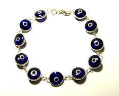 Blue Evil Eye Bracelet Sterling Silver Amulet Protection Good Luck Mati Lampwork Glass Beads Murano Chain Link Greek Jewelry Gift For All Gold Plated Bracelets, Sterling Silver Bracelets, Jewelry Gifts, Unique Jewelry, Diy Jewelry, Greek Jewelry, Evil Eye Bracelet, Link Bracelets, Handmade Silver