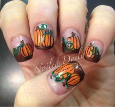 DIY Halloween Nails : pumpkin patch nails