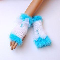 Handknit White Blue Fingerless Gloves Knit  Mitten by RoseAndKnit, $32.00