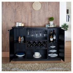 Rosio Transitional Criss Cross Wine Storage Dining Buffet Vintage Walnut - Homes: Inside + Out, Dark Brown