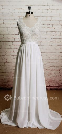 A-Line V-Neck Lace Wedding Dresses 2015 Chiffon Sash Buttons Bridal Gowns ,Prom Dress Long,Evening Dress