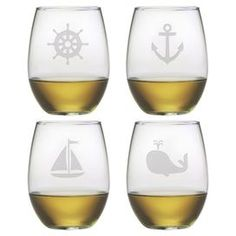 """Enjoy an after-dinner merlot with this coastal-themed stemless wine glass, showcasing a sand-etched nautical motif.  Product: Set of 4 stemless wine glassesConstruction Material: GlassColor: ClearFeatures:  Sand-etched21 Ounce capacityDimensions: 4.63"""" H x 3"""" Diameter"""