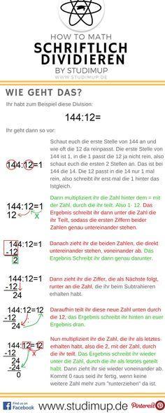 Schriftlich rechnen einfach erklärt. Im Mathe Spickzettel von Studimup die schriftliche Division.