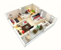 A new family with just one child has the luxury of keeping one bedroom small, as this layout shows, which leaves more room for common areas.