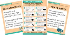 Teaching Digital Citizenship: 10 Internet Safety Tips For Students (With Cyber Safety Posters) Teaching Technology, Teaching Biology, Student Teaching, Internet Safety For Kids, Safe Internet, Citizenship Education, Digital Citizenship, Cyber Safety, Digital Footprint