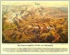 Das Semmeringgebiet mit Rax und Schneeberg - Photochrom Postkarte - nach einer Lithographie von Gustav Jahn Poster, Mountains, Painting, Snow Mountain, Mountain Climbers, Postcards, Painting Art, Paintings, Painted Canvas