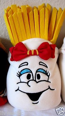 1997 McDonald's Restaurant Advertising Soft Bean Bag French Fry Girl Doll Toy |