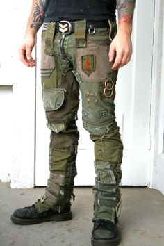 Bone Black Army Pants - Made from vintage and recycled military gear. Each piece is one of a kind and will very depending on available military gear and patches. Hand made in Los Angeles! Post Apocalyptic Costume, Post Apocalyptic Fashion, Post Apocalyptic Clothing, Military Gear, Military Fashion, Mens Fashion, Tactical Clothing, Tactical Gear, Army Pants