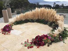 Wedding Flowers Gorgeous semi circular sacred space by Christine Cater Floral & Event Design. Wedding Altars, Wedding Ceremony Ideas, Wedding Stage, Ceremony Backdrop, Wedding Trends, Wedding Designs, Rustic Wedding, Wedding Reception, Wedding Backdrops