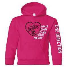 I Love One Direction Youth Size Hooded Sweatshirt 1D Hoodie Shirt S-5XL Sizes | eBay