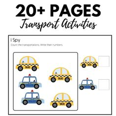 Transportation Preschool Counting 1-5 by Sofea's Store | TpT Preschool Math, Kindergarten, Transportation Theme Preschool, Let's Have Fun, Motor Activities, Counting, Literacy, Writing, Store