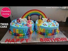 twins rainbow theme birthday cake design ideas decorating tutorial cours...