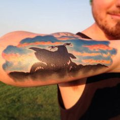 70 Motocross Tattoos For Men - Dirt Bike Design Ideas Dirt Bike Tattoo, Motocross Tattoo, Bicycle Tattoo, Bike Tattoos, Motorcycle Tattoos, Sleeve Tattoos, Arm Tattoos, Tatoos, Sunset Tattoos