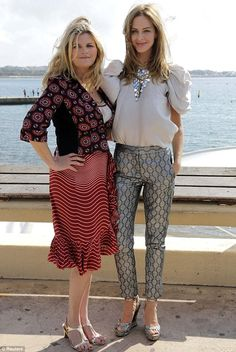 Windswept: Susannah Constantine (left) and Trinny Woodall at a photocall for their new show Trinny and Susannah: Inside Out at the annual MIPCOM trade show in Cannes