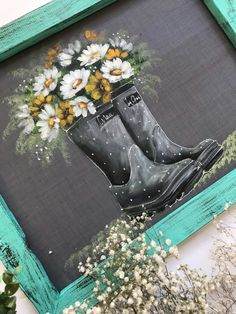 Lets enjoy the little things, gray rain boots!- Lets enjoy the little things, gray rain boots! Tole Painting, Painting & Drawing, Rustic Painting, Painted Window Art, Painted Screens, Fashionable Snow Boots, Chalkboard Art, Paint Party, Learn To Paint