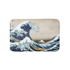 High Quality Great Wave off Kanagawa by Hokusai Bath Mat - home decor design art diy cyo custom