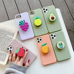 Cartoon Fruit avocado holder Soft phone case for iphone X XR XS 11 Pro Max 6 7 8 plus Iphone 8 Plus, Iphone 7, Coque Iphone, Telephone Samsung, Kawaii Fruit, Fruit Holder, Aesthetic Phone Case, Gadgets, 3d Cartoon