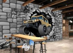 Image of Concrete Wall Break Through Cartoon Art Wall Murals Wallpaper Decals Prints Decor Cartoon Kunst, Cartoon Art, Mural Art, Wall Murals, Foto 3d, Graffiti Designs, Backdrop Design, Showroom Design, False Ceiling Design
