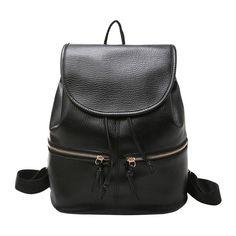Casual Soft Leather Backpack Women PU Drawstring Backpack Zipper Girls School Bags Travel Rucksack Back Pack Bagpack Mochila Backpack Outfit, Black Backpack, Backpack Bags, Leather Backpack, Drawstring Backpack, Cool Backpacks For Girls, Trendy Backpacks, Girl Backpacks, School Backpacks