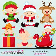 Christmas Babies set comes with 6 cute babies for Christmas including: a baby in a reindeer costume, a baby santa, a baby elf, a baby in a present, a baby in a sleigh and a baby with bow in hair.    Graphics are made in High Quality 300 dpi and come in JPG, PNG & EPS format.