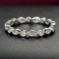 Art Deco Antique Style Bezet Set Round and Marquise Diamond Ring Milgrain 14K White Gold Wedding Ring Aniversary Ring