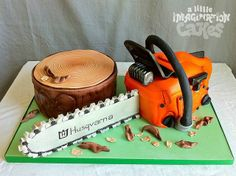 The perfect cake for todd! Husqvarna Chainsaw Cake by A Little Imagination… Beautiful Cakes, Amazing Cakes, Realistic Cakes, Dad Birthday Cakes, 7th Birthday, Camo Party, Cupcake Cakes, Cupcakes, Dad Cake