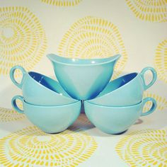 PLASTIC TURQUOISE CUPS / Set of Four And One Sugar by sugarlily, $20.00