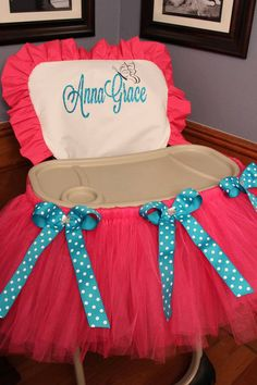 High Chair Cover AND Tutu Set by TamaraMarieOriginals on Etsy