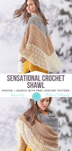 Sensational Crochet Shawl Free Pattern This project is a show-stopper. Sensational Crochet Shawl is really stunning! It's light, flowy, features lovely lacy design, and openwork. Crochet Afghans, Crochet Shawl Free, Crochet Shawls And Wraps, Crochet Motifs, Crochet Beanie, Knit Or Crochet, Crochet Scarves, Crochet Clothes, Crochet Hats