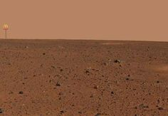 Pre-empting the conspiracy theorists, Curiosity rover's pics of Mars already showing McDonald's signs on the horizon.