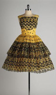~Vintage 1950's black glitter flocking, yellow gold cocktail dress