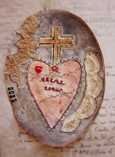 Constanza Silva - sacred heart mixed paper, fabric and embroidery