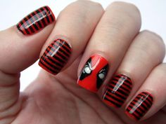 Deadpool nails inspired by the exclusive Deadpool socks from Loot Crate:Villains. #Deadpool #Nerdnails #Nailart