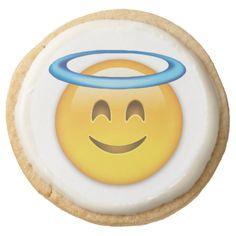 Smiling Face With Halo Emoji Round Premium Shortbread Cookie