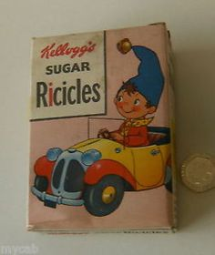 Kelloggs-Sugar-Ricicles-original-vintage-cereal-box-Noddy-in-his-Car-1958-UK