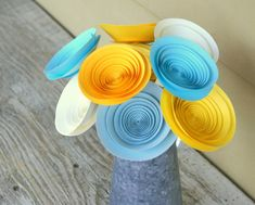 12 Large Yellow, Aqua, and Ivory Paper Flowers, Spring Flowers, Spring Centerpiece, FREE SHIPPING via Etsy