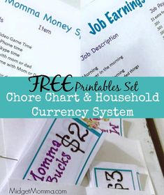 Chore Chart & Household Currency System FREE Printable Set.  Includes: Printable Home Currency Printable Job Chart (option to customize) Printable Spending sheet (option to customize)  Chores Kids do earn Home currency to spend at home. Daily chores are must dos, Extra chores they can earn more money doing on top of daily chores. They can spend their home currency (aka Momma Bucks) on things like electronic time, phone time, days out with parents, one on one time with parents and more.