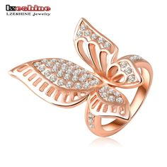 18K Rose Gold Plating Classic Beautiful Butterfly Engagement Rings With Austrian Crystals Wedding Ri-HQ0195