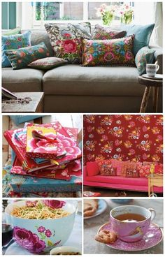 Add bright pillows to change the look of a sofa .....