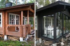 Porch made into enclosed glass dining area Cottage Porch, Lakeside Cottage, Cottage Plan, Cozy Cottage, Cottage Homes, Cottage Style, Small Log Cabin, Modern Log Cabins, Tiny Cabins