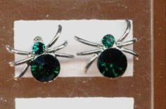 Ohrringe, Ohrstecker - Spider, Spinne mit Strass in grün - nickelfrei
