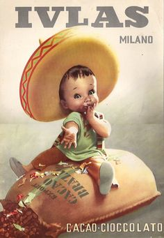 Vintage Italian Posters ~ #illustrator #Italian #posters ~ By Gino Boccasile (1901-1952), Ivlas Cacao Milano.(I)