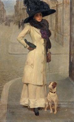 Lady with Little Doge, 1911 ~ Fabio Cipolla ~ (Italian: 1852-1935)
