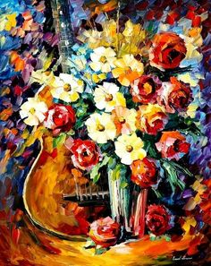 The Roses Of Music  PALETTE KNIFE Still Life por AfremovArtStudio