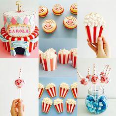 temática Circo Cakepops de Payasitos, alfajores de maicena con banderines, cupcakes y cookies como cajitas de pochoclos y la super torta! #circusinspiration #carola #dulcespersonalizados #rominaconnell @rominaconnell