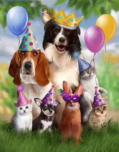 Party Animals by Thomas Wood~ready for the birthday cake Happy Birthday Animals, Happy Birthday Dog, Happy Birthday Pictures, Happy Birthday Quotes, Happy Birthday Greetings, Animal Birthday, Birthday Messages, Funny Birthday, Birthday Cake